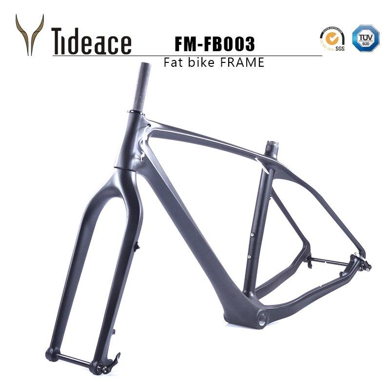 2018 Бесплатная доставка жира рамы велосипеда углерода с вилкой 26er БСА углерода Снег велосипед фреймов жира рамы велосипеда углерода + вилка +...