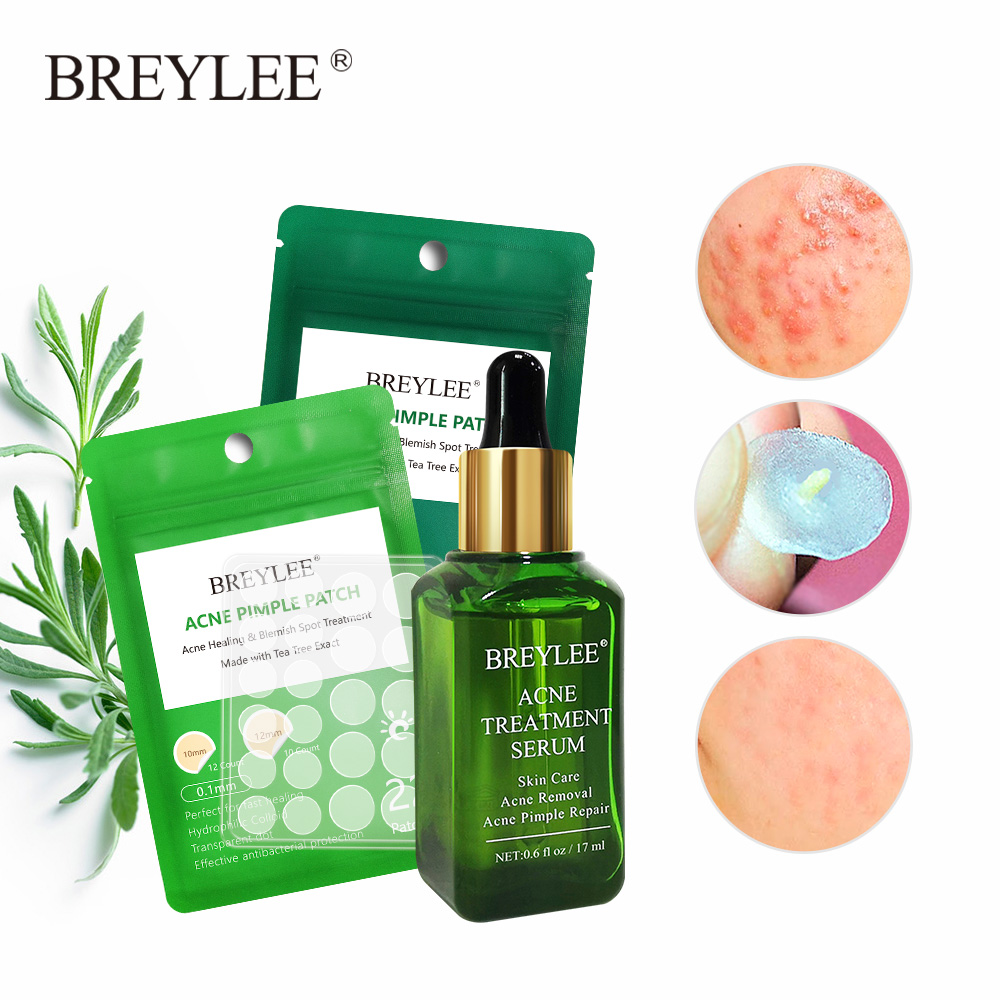 BREYLEE Acne Treatment Serum Facial Acne Removal Acne Pimple Patch Stickers Repair Whitening Serum Facial Essence Skin Care