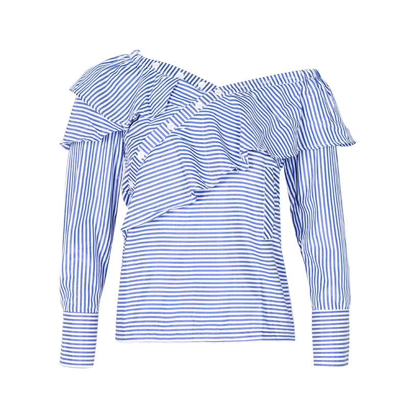 One Shoulder Off Ruffles Blue Striped Long Sleeve Blouse Shirt