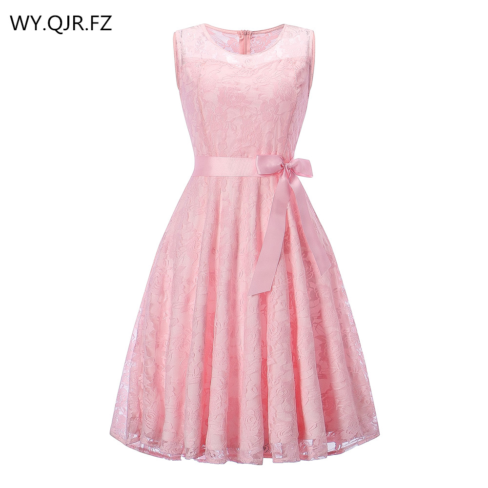 OML503F#round collar Sleeveless Pink Bow Bridesmaid Dresses wedding party dress 2019 prom gown Ladies women's fashion wholesale