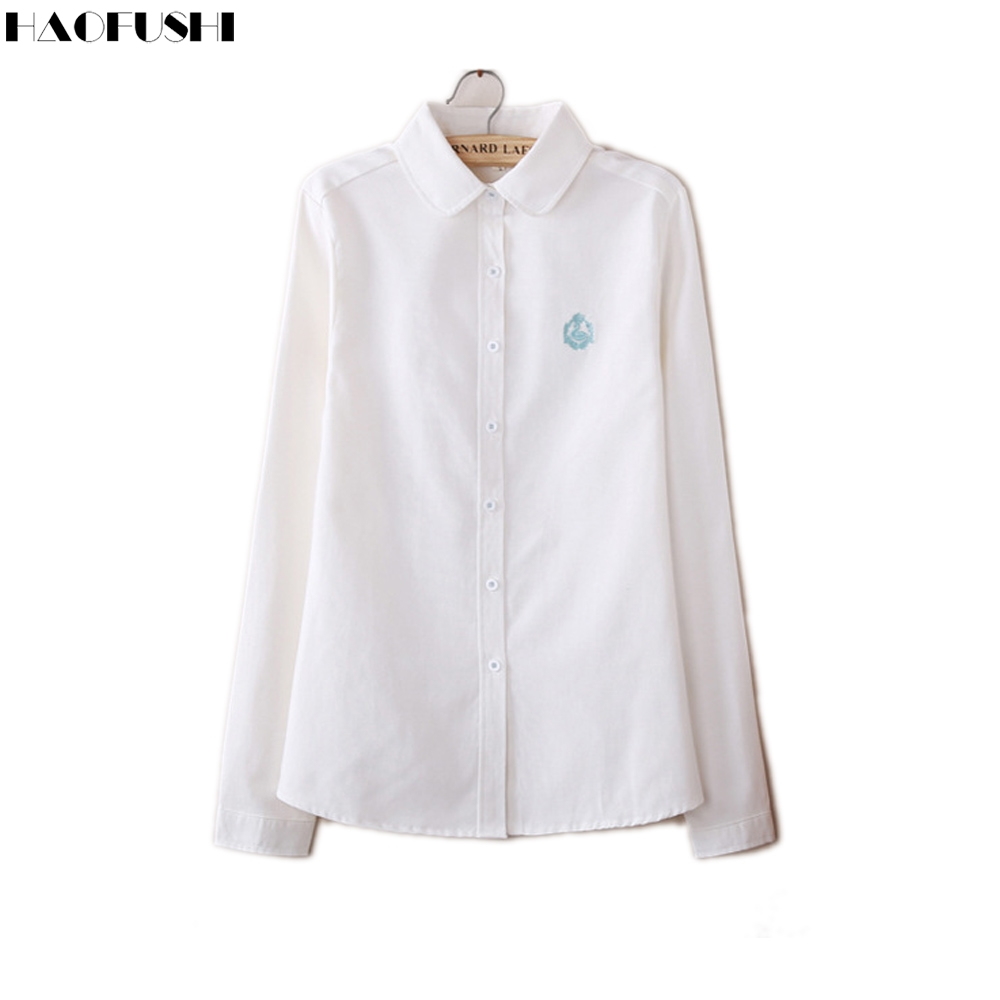Blouses & Shirts 2016 Autumn And Winter Fashion Women Casual Long Sleeve Shirt Little Swan Embroidered Oxford Tops Spring Ladies White Blue Shirt