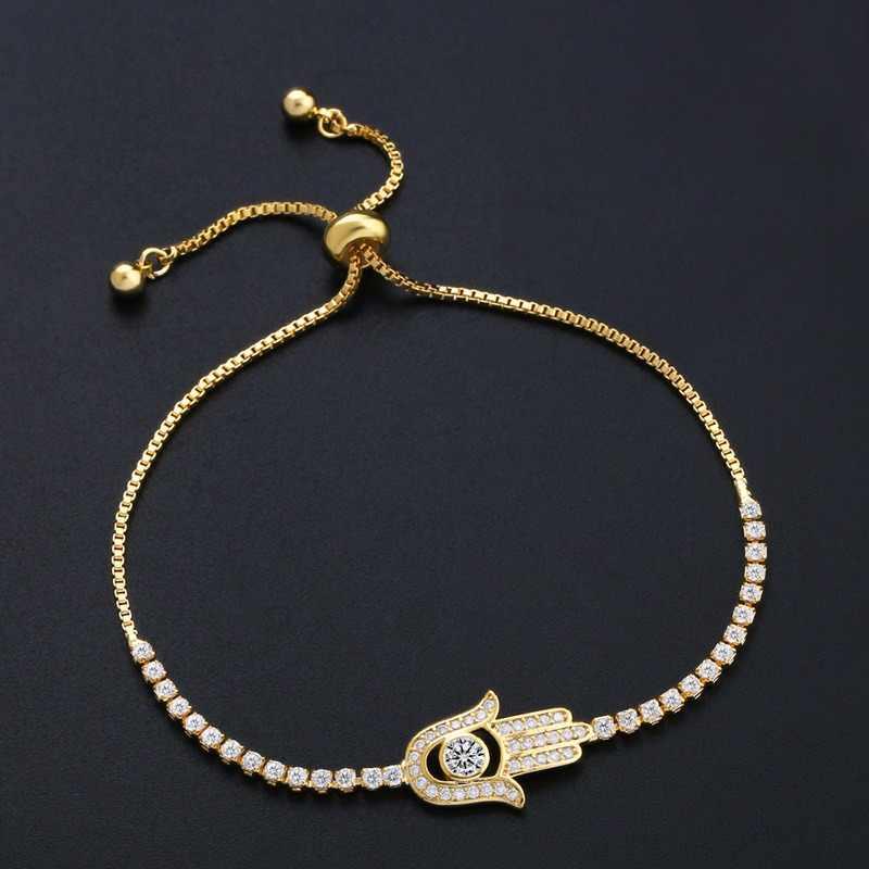 dbb7a5c25549 FLOLA nueva moda CZ mano de Fatima pulsera encantos pulsera pavimentado  Cubic Zircon pulsera Hamsa para