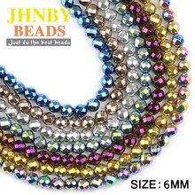 JHNBY-bracelets à facettes rondes en hématite, accessoires à fabriquer soi-même, 6mm, 100 pièces, pierre naturelle, placage de couleur, grosses perles, boules