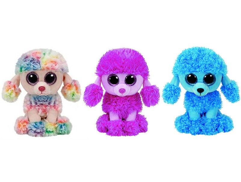 Ty Beanie Boos Pink Patsy Blue Mandy Rainbow Poodle Dog Plush Toy 6'' 15cm Cute Stuffed Animals Big Eyes Kids Toys for Children