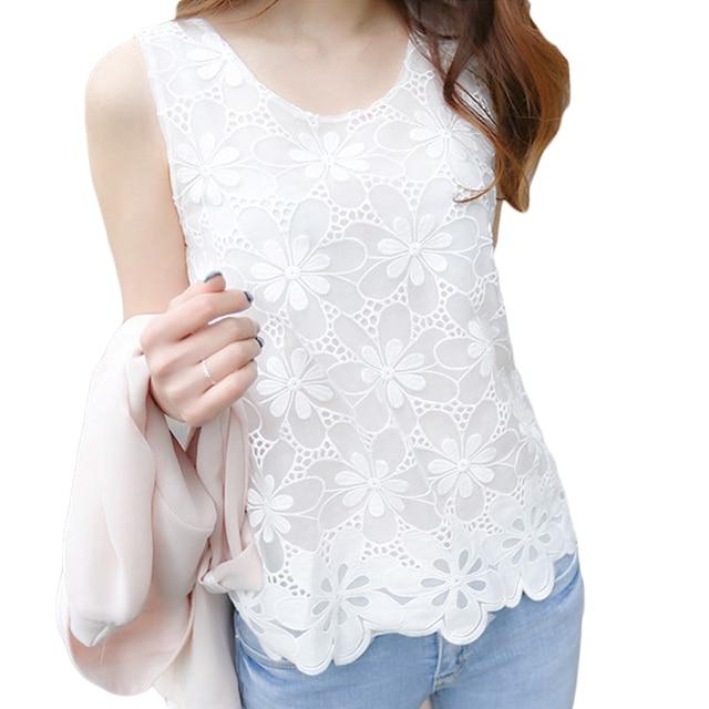 VogorSean 2018 חדש נשים חולצה חולצה קיץ סקסי לבן ללא שרוולים אלגנטי חולצה תחרה כתף חולצות אישה עבודת גברת בתוספת גודל
