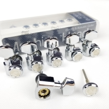 1 Set 6 In-line No Screw Locking Electric Guitar Machine Heads Tuners Lock String Tuning Pegs Chrome Silver