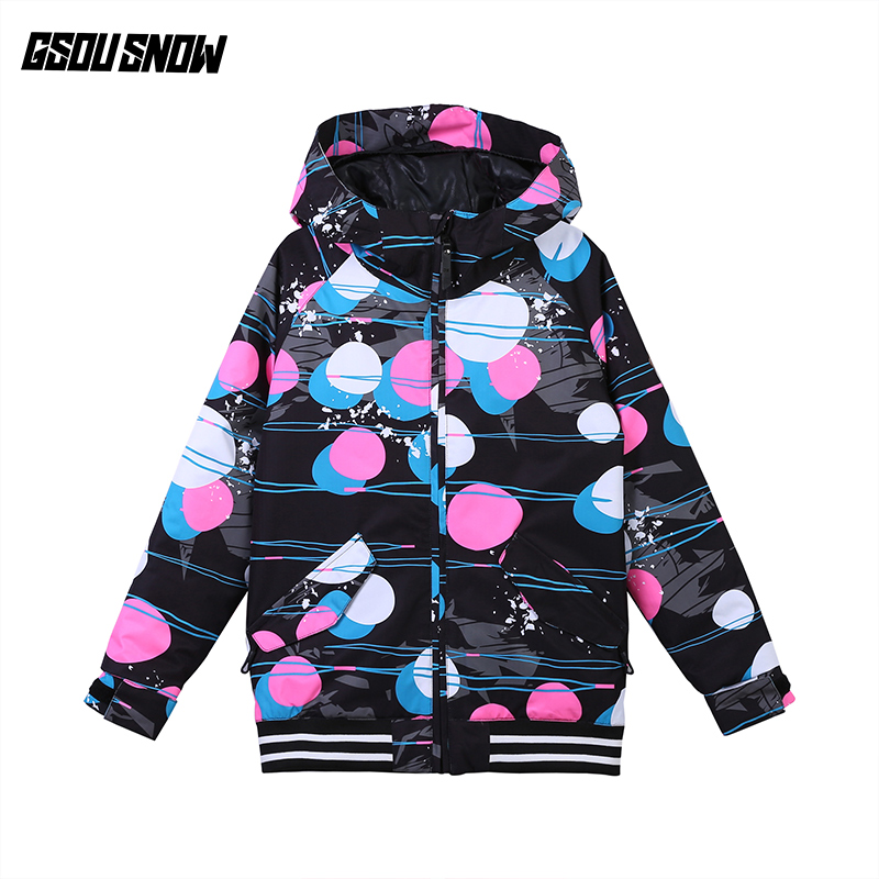 Gsou Snow Girls Ski Jacket Snowboard Jacket Thermal Windproof Waterproof Outdoor Sport Wear Skiing Kids Clothing Children Coat