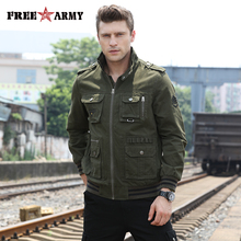 Free Army Jacket Men Autumn Spring 2018 Fashion Military Jacket Men Clothes Fit Outfit Pocket Solid Army Green Mens Coat MS-6280 недорого