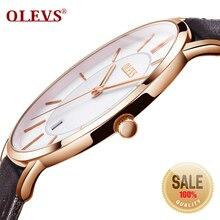 OLEVS, relojes para hombre de lujo de la mejor marca, reloj de pulsera deportivo resistente al agua 30 m, reloj de cuarzo ultrafino, reloj con fecha, Relojes de Cuero para hombre