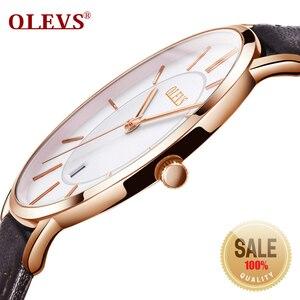 Image 1 - Olevs relógios masculinos marca de luxo esporte relógio de pulso à prova d30 água 30m ultrafinos relógio de quartzo data relógio masculino relógios de couro