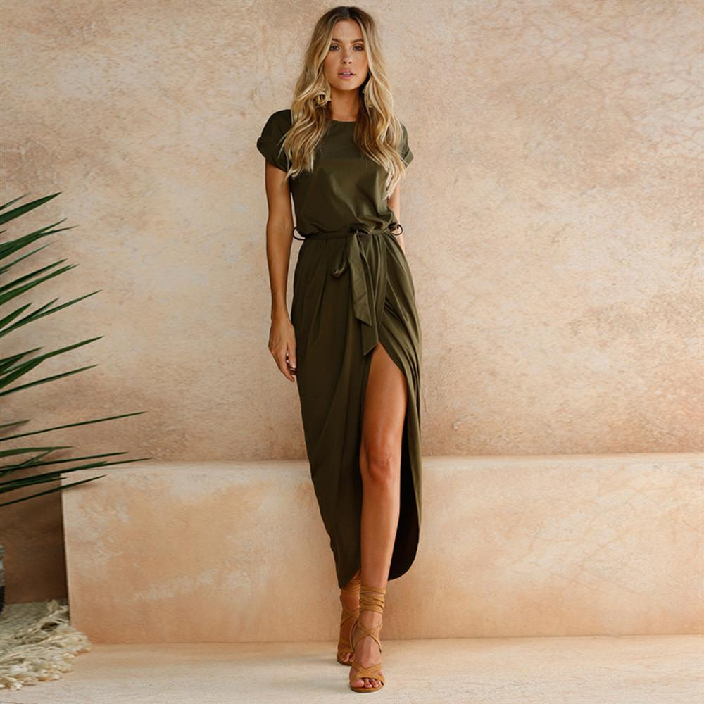 Women Shor Sleeve Maxi Dress Spring 2018 New Fashion Drawstring Long Shirt Dresses Open Slit Women Casual Dress