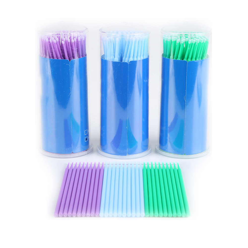 Disposable Cotton Swabs Tooth Brushes Swab 100PCS/Lot Micro Brushes Individual Coated Sticks Eyelashes Removing Applicators
