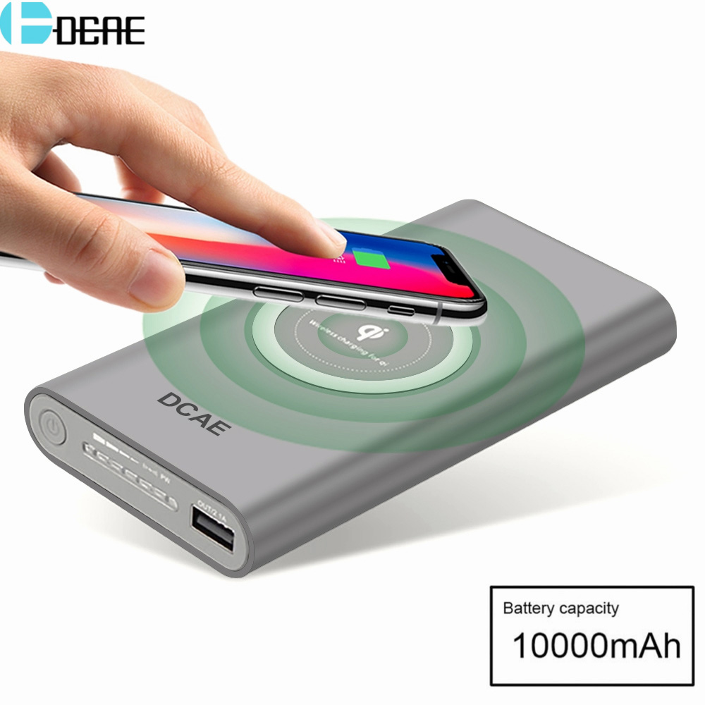 DCAE Qi Wireless Charger 10000Amh Portable Power Bank Wireless Charging Pad for iPhone X 8 Plus