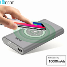 DCAE Qi Wireless Charger 10000Amh Power Bank USB Fast Charging Pad for iPhone XS Max XR