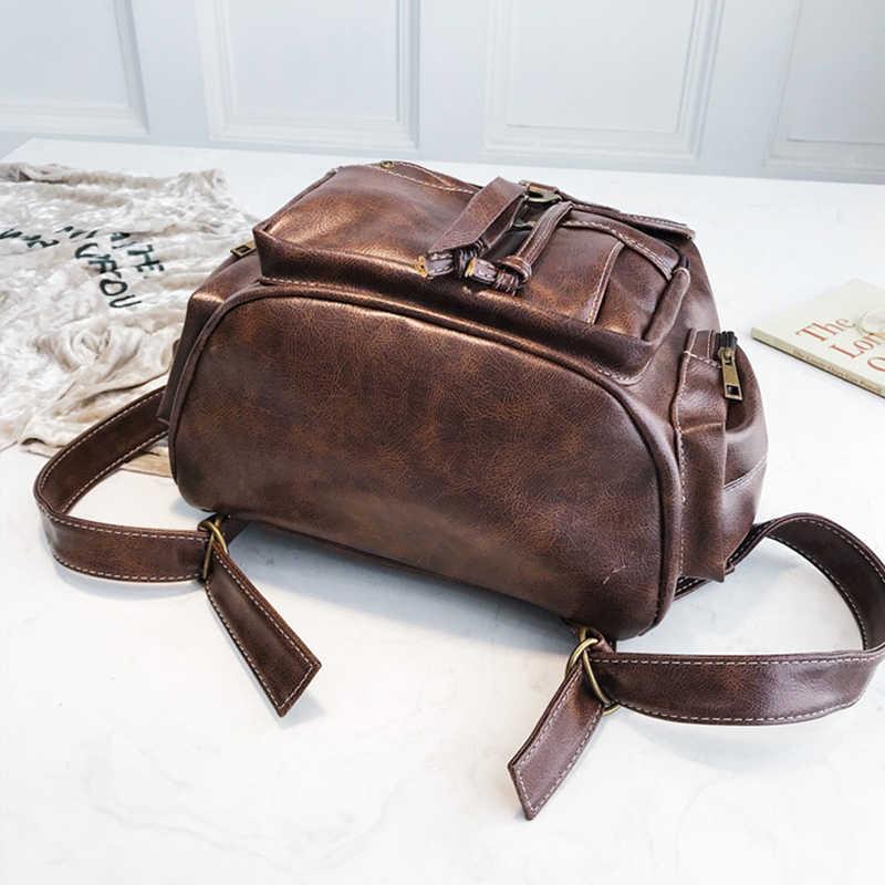 Винтажный женский рюкзак из мягкой кожи для девочек-подростков, коричневая черная школьная сумка, модные рюкзаки на кулиске в английском стиле