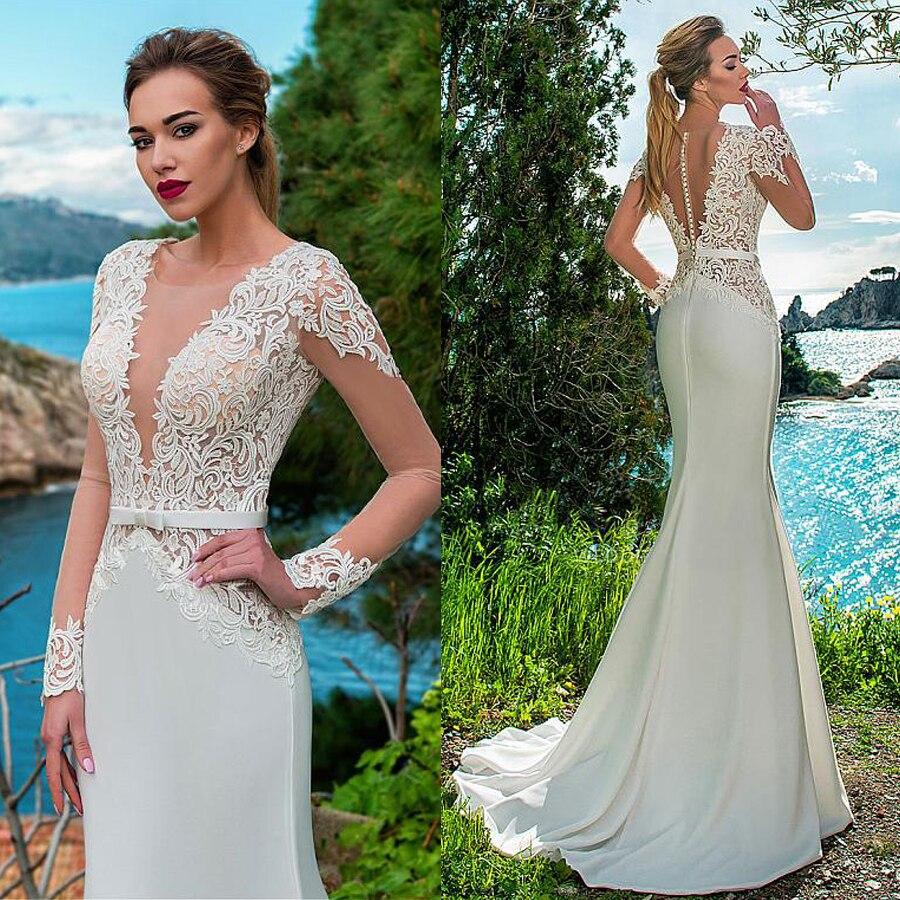 See through V Neck Bodice Mermaid Beach Wedding Dress Lace Appliques Belt Long Sleeves Boho Sofuge Vestido De Noiva Dubai Arabic in Wedding Dresses from Weddings Events