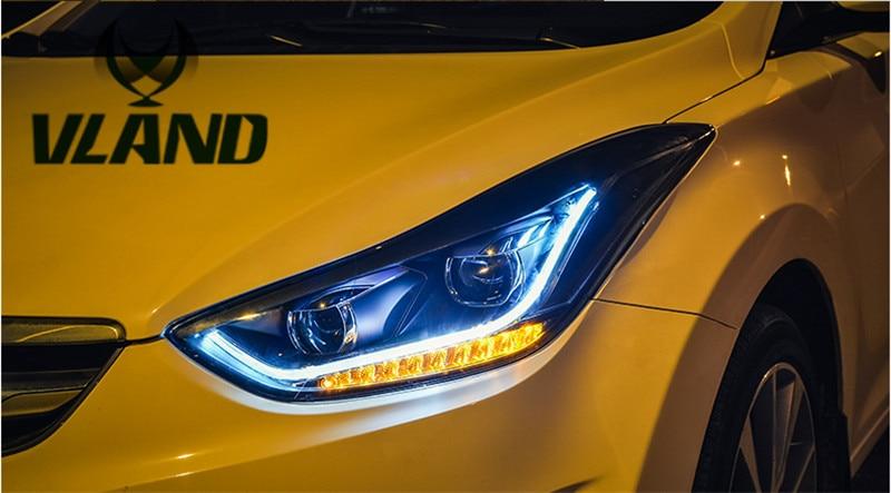 Бесплатная доставка головной лампы автомобиля ВЛАНД для Хендай Элантра СИД фары СИД-бар ксеноновая лампа с линзы Би-Ксеноновые 2012 2013 2014 2015