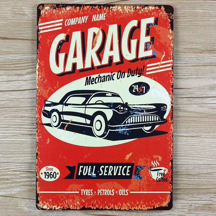 Garage and vintage car metal Tin signs malt vintage home decor decorative plaques for bar wall art craft 20X30CM SP-QC-067