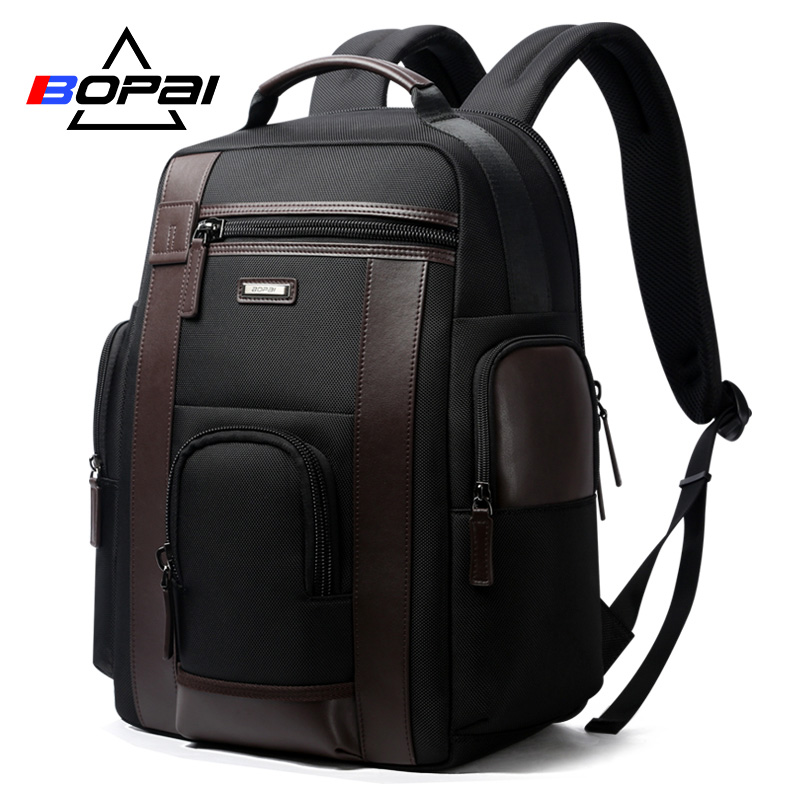 Bopai New Black Multi Pocket Men Backpack Business Solid Nylon Men Daypacks Mochila Bags Convenient Usb Charging Backpack Women