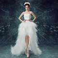 2016 New Arrival White Bridal Wedding Dress Wedding Gown Sweetheart wedding irregular short in front long Dresses