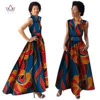 2019 African Summer Dress African Bazin Riche Dress for Women Plus Size Long Print Africa Clothing