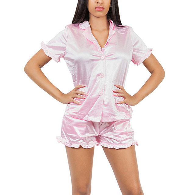 VWIWV 2018 Pink Ruffles Pajamas 2 Pieces Sets Satin Cami Top and Shorts  Pajama Set Sleepwear Shirt and Shorts Set Casual Button 5d6f87da1