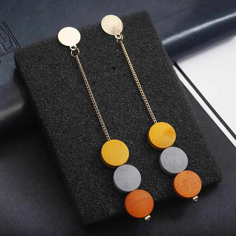 RscvonM 2018 Fashio New Jewelry Temperament Long Wood Tassel Drop Earrings For Women Pendientes Mujer Moda Oorbellen Gift