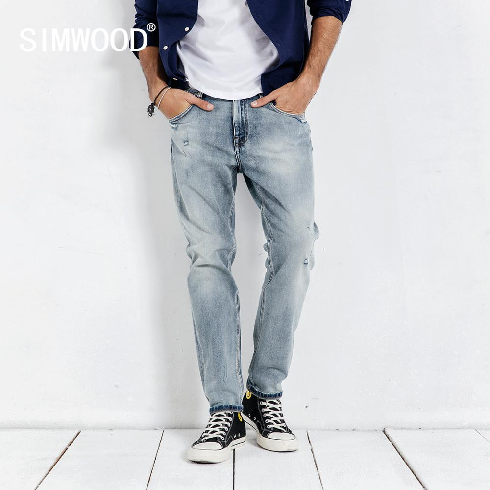 SIMWOOD 2020 Spring New Jeans Men Ripped Hole Vintage Ankle-length Denim Pants Washed Fashion Hip Hop Trousers 190038