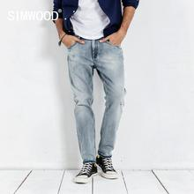SIMWOOD 2020 spring new jeans men ripped hole vintage ankle length denim pants washed fashion hip hop trousers 190038