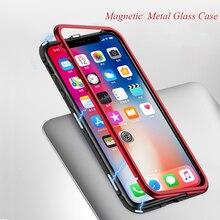купить Magnetic Adsorption Metal Bumper Case For iPhone X 8 7 Plus Cases Slim Tempered Glass Cover 2 in 1 Aluminum Frame for iphoneX 8 по цене 1213.39 рублей