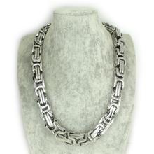 Venta caliente! 16 MM Hot impresionante Motorbiker collar de cadena, pesado acero inoxidable de plata bizantino cadena de collar pesa 560 g