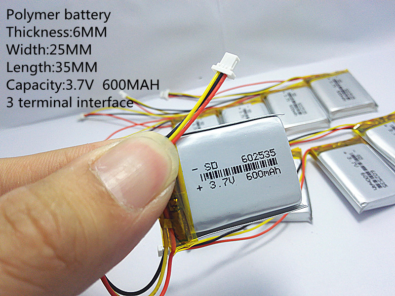 (free shipping)Polymer lithium battery 3.7 V,600 602535 can be customized wholesale CE FCC ROHS MSDS quality certification wholesale polymer lithium battery 15c high rate hm 703048 800mah 7 4v remote aerial aircraft batteries