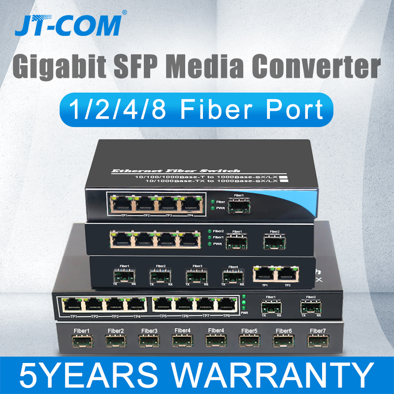 half/4/eight Ports Sfp Rj45 Gigabit Media Converter Gpon/olt Fibra Optica Ftth Ethernet Community Change Fiber Optic Transceiver 1000M