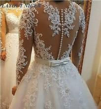 Garš kleita, eleganta, Vestido De Noiva, garām piedurknēm, kāzu kleita, 2018 Jauna vintage mežģīņu aprikozes pērles, līgavas kleita