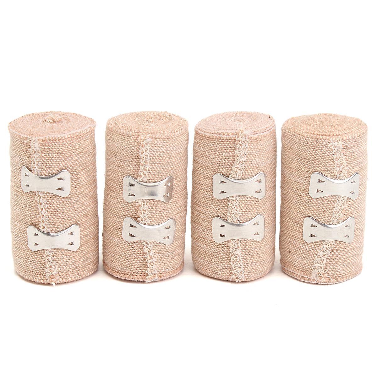 Safurance 4 Rolls 15ft Crepe Bandage Hook Closure Rubber Elastic Bandage 5 Yds 4.5M Emergency Kits Treatment