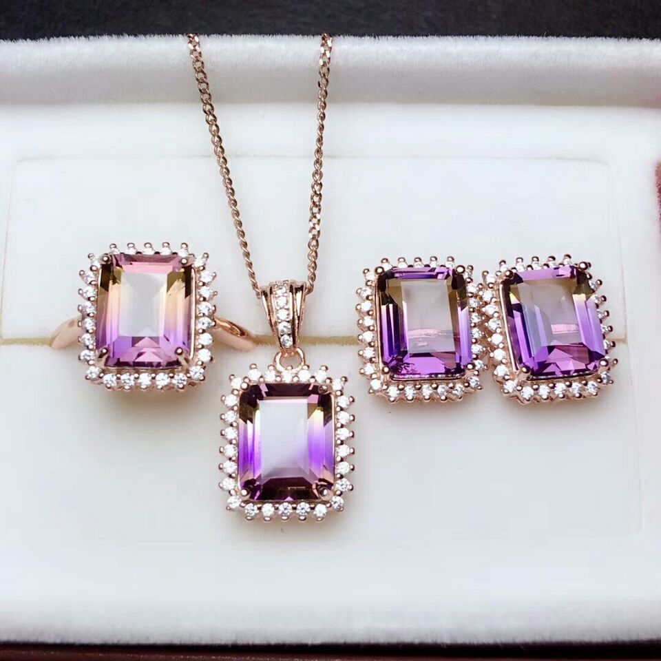 MeiBaPJ Natural Ametrine 925 Sterling Silver Necklace Earrings and Rings Jewelry Set for Women Wedding Party