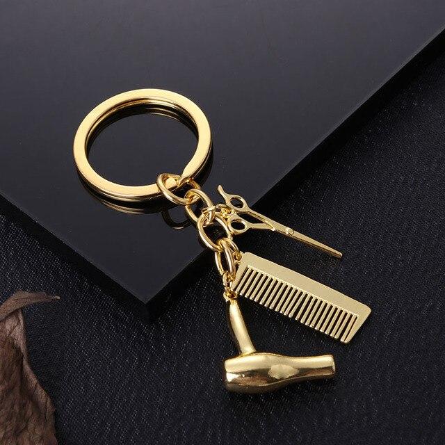 Vintage Antique Hairdressing Scissors Comb Charm Keychain Fashion Design Cool