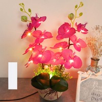 High Quality Silk And Ceramic Warm Light Red And White Light Blue Novelty Desk Lamp As