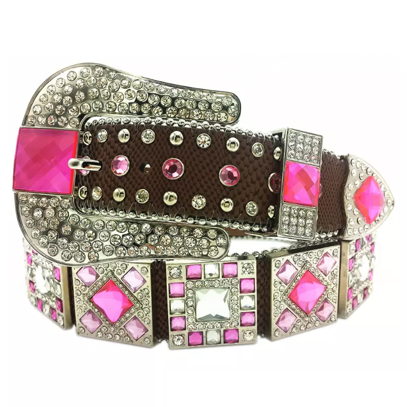 Pink Cowgirl Western Rhinestone Leather Belts
