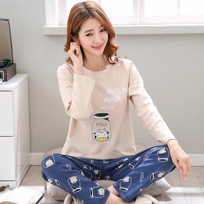 2pcs/set 100% Cotton Long Sleeve Sleepwear Nightgown 2