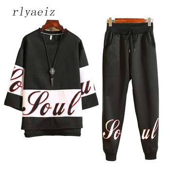 Rlyaeiz Fashion Printed Sporting Suit Men 2018 Spring Summer Set Mens Tracksuit Loose Hoodies + Pants Male Casual Sweat Suit