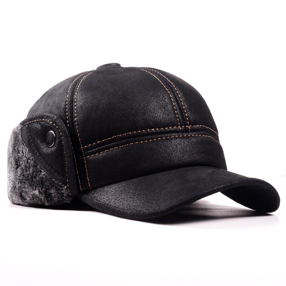 Image 3 - RY9100 Мужская зимняя шапка бомбер из натуральной кожи и замши, мужская шапка из нубука с толстой головкой, теплая шапка с куполом, черная/коричневая шапка с шитьем-in Мужская куртка-бомбер шляпы from Аксессуары для одежды on AliExpress - 11.11_Double 11_Singles' Day