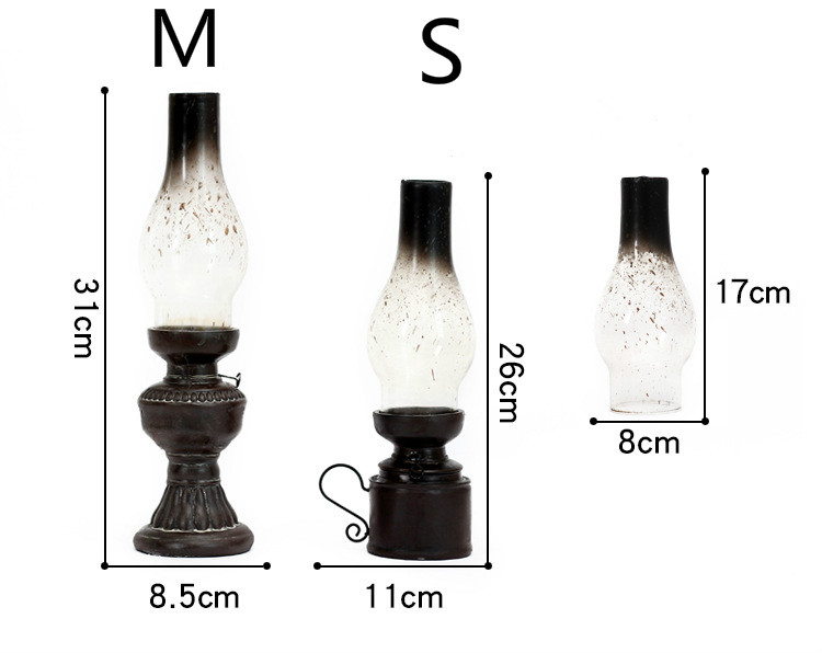 Creative Resin Crafts Nostalgic Kerosene Lamp Candle Holder Decoration Vintage Glass Cover Lantern Candlesticks Home Decor Gifts in Figurines Miniatures from Home Garden
