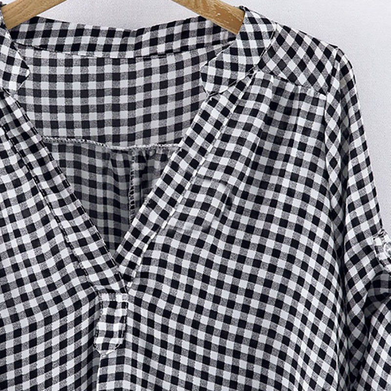 Frühling Herbst Casual Frauen Plaid Bluse Kurzarm Kleidung Weibliche - Damenbekleidung - Foto 4