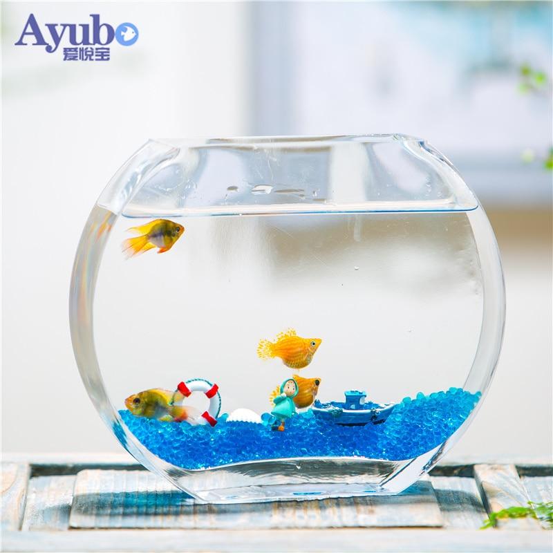 29%, réservoir de poisson en verre transparent créatif Simple de fleur de pêche réservoir de poisson d'or plat rond mini aquarium - 4