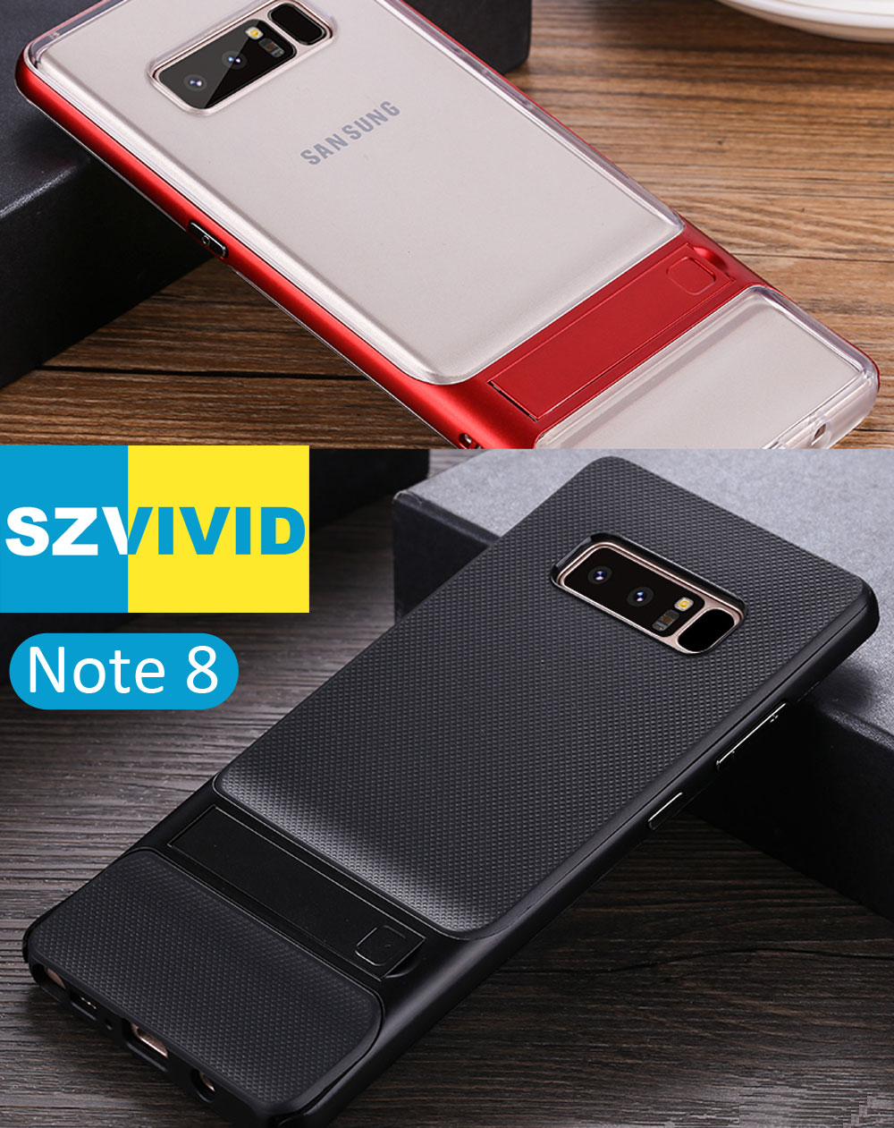 Stand Holder Kickstand Case for Samsung Galaxy Note 8 Hybrid Slim Armor Protector Clear Transparent Cover Note8