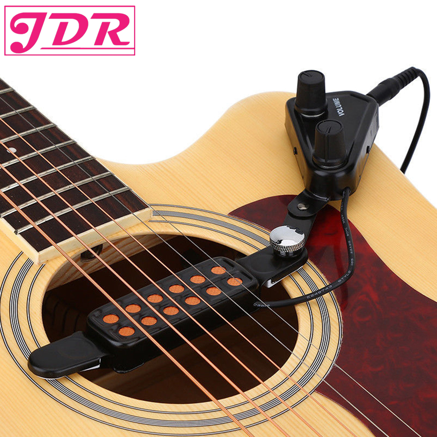 JDR 12 hole Acoustic Guitar Sound Hole Pickup Magnetic Transducer With Tone Volume Controller 3M Cable