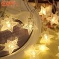 Fairy10M 80LED110V Holiday Luces Luces de Cadena 220 V UE EE.UU. plug Pentagram Luz de Boda del Partido de Navidad 5 de cinco estrellas