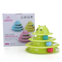Mental Physical Exercise For Kittens 3-Level Plastic Tower of Tracks Cat Toy