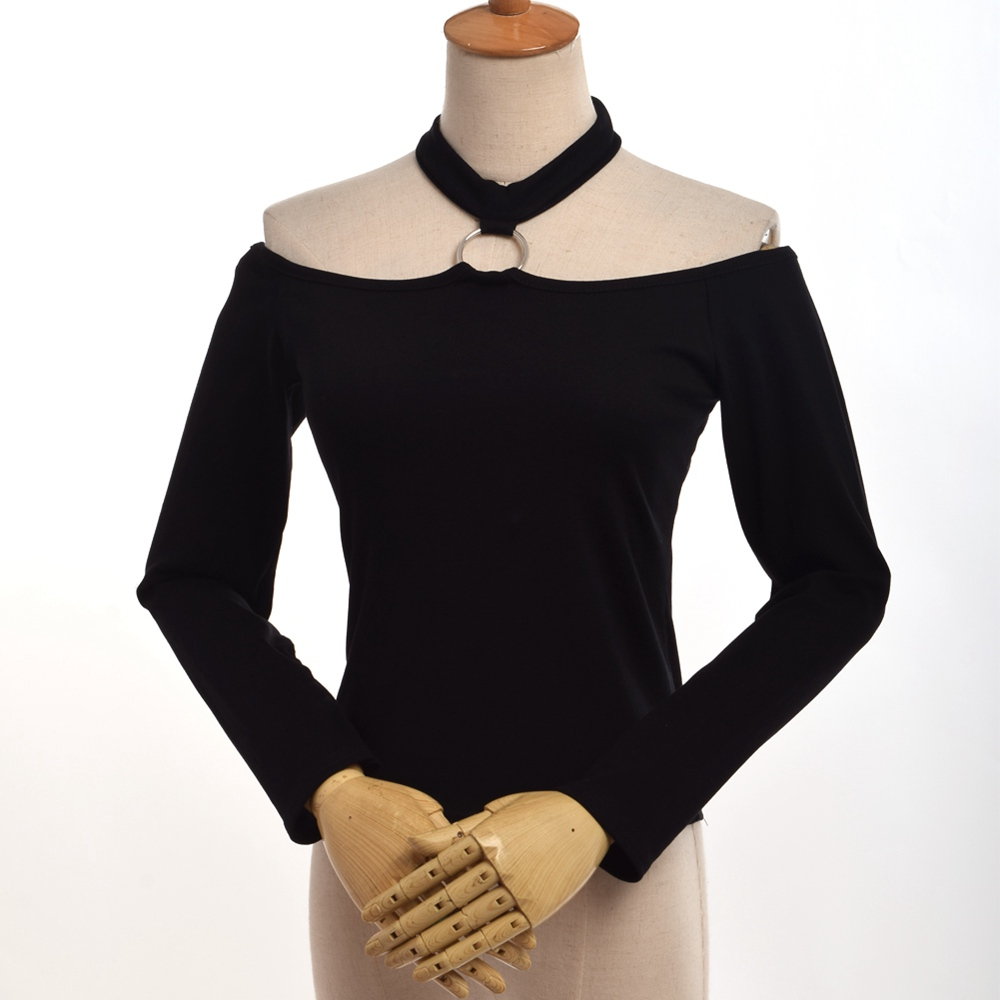 1pc Rock Style off the shoulder tops for women Black T Shirt Gothic Slim Iron Ring Halter Neck Shirt